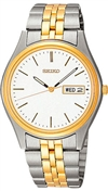 Seiko Men's Bracelet Stainless Steel Two Tone White Dial SGGA52