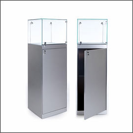 GL112TG-20 Square Pedestal Showcase with Glass Top