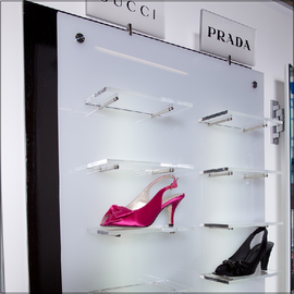 Wall shoe displays merchandising shoe displays for retail for Sneaker wall display