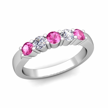 5 Stone Diamond and Pink Sapphire Wedding Ring in Platinum