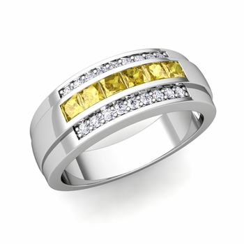 Princess Cut Yellow Sapphire and Diamond Mens Wedding Band in 14k Gold, 8mm