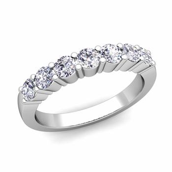 7 Stone Diamond Wedding Ring in Platinum 0.70 cttw