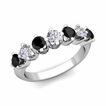 Crown Black and White Diamond Ring in 14k Gold Knife Edge Wedding Band