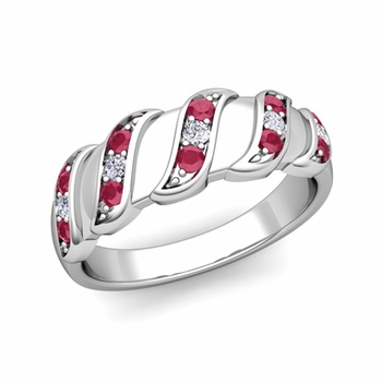 Geometric Diamond and Ruby Mens Wedding Ring Band in Platinum, 8mm