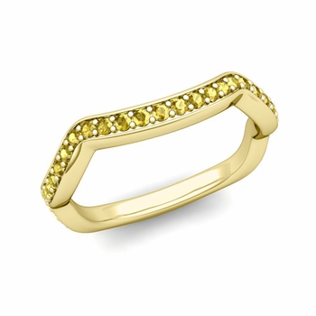 Unique Curved Yellow Sapphire Wedding Ring Band in 18k Gold