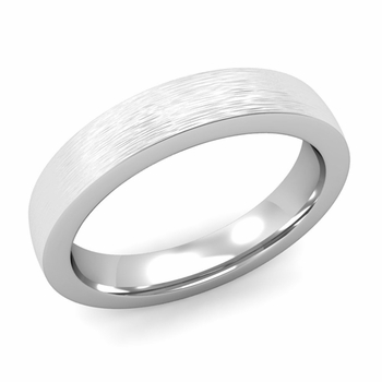 Flat Comfort Fit Wedding Band in 14k White or Yellow Gold, Brushed Finish, 4mm