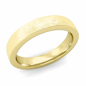 Flat Comfort Fit Wedding Band in 18k White or Yellow Gold, Brushed Finish, 4mm