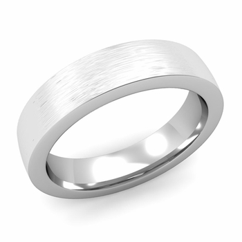 Flat Comfort Fit Wedding Band in 14k White or Yellow Gold, Brushed Finish, 5mm