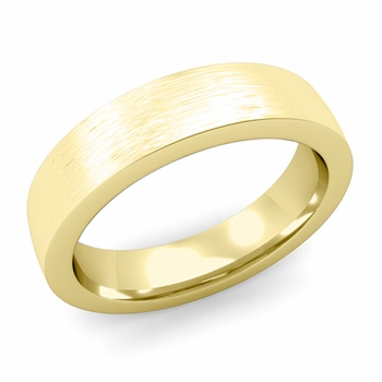 Flat Comfort Fit Wedding Band in 18k White or Yellow Gold, Brushed Finish, 5mm