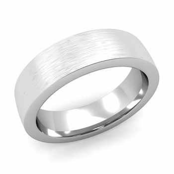 Flat Comfort Fit Wedding Band in 14k White or Yellow Gold, Brushed Finish, 6mm