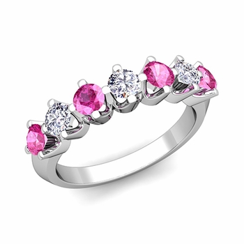 Crown Diamond and Pink Sapphire Ring in Platinum Knife Edge Wedding Band