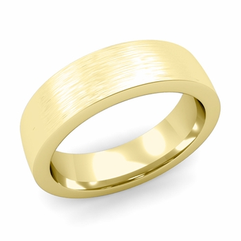 Flat Comfort Fit Wedding Band in 18k White or Yellow Gold, Brushed Finish, 6mm