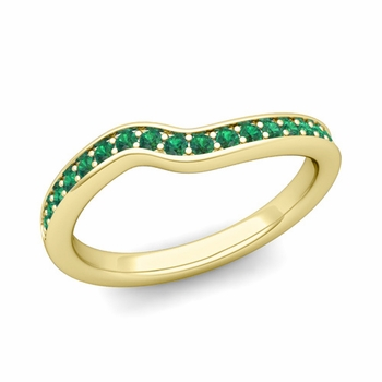 Petite Curved Emerald Wedding Band Ring in 18k Gold