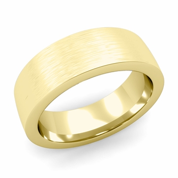 Flat Comfort Fit Wedding Band in 18k White or Yellow Gold, Brushed Finish, 7mm