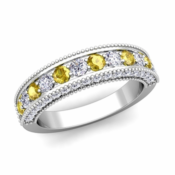 Vintage Inspired Yellow Sapphire and Diamond Wedding Ring Band in Platinum