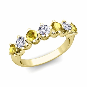 Crown Diamond and Yellow Sapphire Ring in 18k Gold Knife Edge Wedding Band