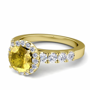 Brilliant Pave Set Diamond and Yellow Sapphire Halo Engagement Ring in 18k Gold, 7mm