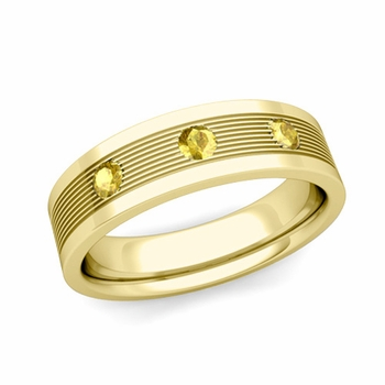 3 Stone Yellow Sapphire Mens Wedding Band in 18k Gold Comfort Fit Ring, 5mm