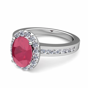 Diamond and Ruby Halo Engagement Ring in 14k Gold Channel Set Ring, 7x5mm