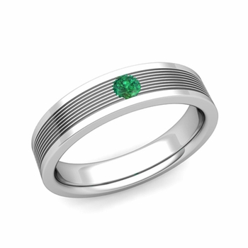 Solitaire Emerald Mens Wedding Band in Platinum Comfort Fit Ring, 5mm