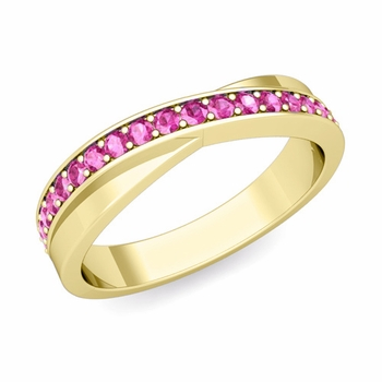 Infinity Pink Sapphire Wedding Ring Band in 18k Gold, 3.8mm