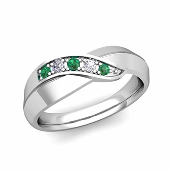 5 Stone Emerald and Diamond Wedding Ring in Platinum Infinity Ring Band, 5.2mm