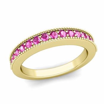 Milgrain Petite Pink Sapphire Wedding Ring Band in 18k Gold