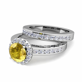 Halo Bridal Set: Diamond and Yellow Sapphire Engagement Wedding Ring in Platinum, 7mm