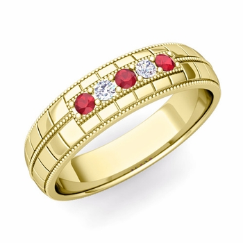 Ruby and Diamond Mens Wedding Band in 18k Gold 5 Stone Ring, 5mm