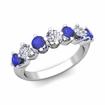 Crown Diamond and Sapphire Ring in Platinum Knife Edge Wedding Band