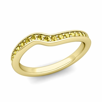 Petite Curved Yellow Sapphire Wedding Band Ring in 18k Gold