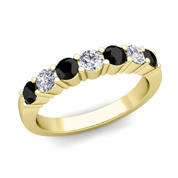 7 Stone Black and White Diamond Wedding Ring in 18k Gold