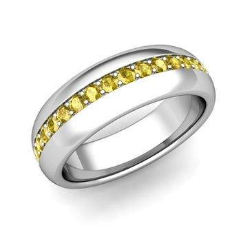 Pave Set Comfort Fit Yellow Sapphire Wedding Band Ring in Platinum, 5.5mm