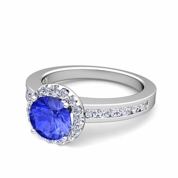 Diamond and Ceylon Sapphire Halo Engagement Ring in Platinum Channel Set Ring, 7mm
