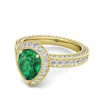 Milgrain Pear Shaped Emerald and Diamond Engagement Ring in 18k Gold, 7x5mm