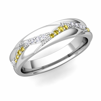 Wave Wedding Band in 14k Gold Diamond and Yellow Sapphire Ring, 5mm