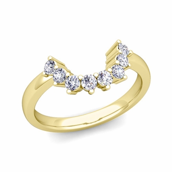 Brilliant Diamond Wedding Ring in 18k Gold Curved Band