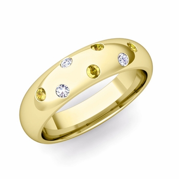 Comfort Fit Scattered Yellow Sapphire and Diamond Wedding Band in 18k Gold, 5mm