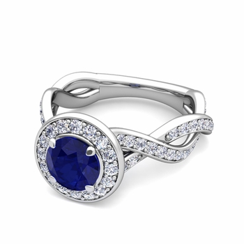 Infinity Diamond and Sapphire Halo Engagement Ring in 14k Gold, 7mm