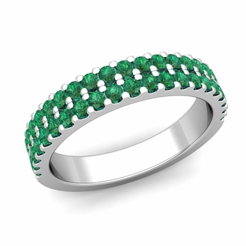 Two Row Diamond and Emerald Wedding Ring Band in Platinum