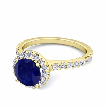 Petite Pave Set Diamond and Sapphire Halo Engagement Ring in 18k Gold, 7mm