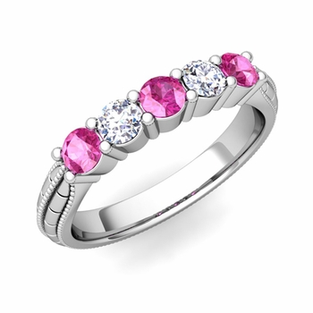 Milgrain Pink Sapphire and Diamond Wedding Band in 14k Gold 5 Stone Ring, 3mm