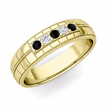 Black and White Diamond Mens Wedding Band in 18k Gold 5 Stone Ring, 5mm