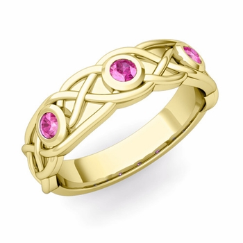 Celtic Knot Pink Sapphire Wedding Ring Band in 18k Gold, 5mm