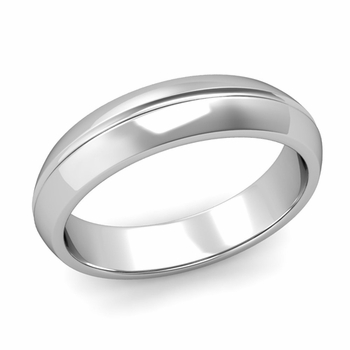 Carved Comfort Fit Wedding Ring in 14k Gold Polished Band, 5mm