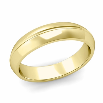 Carved Comfort Fit Wedding Ring in 18K Gold Polished Band, 5mm
