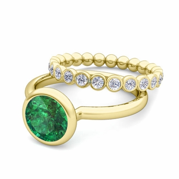 Bezel Set Emerald Ring and Diamond Wedding Ring Bridal Set in 18k Gold, 7mm