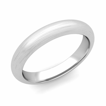 Dome Comfort Fit Wedding Band in 14k White or Yellow Gold, Brushed Finish, 4mm