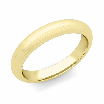 Dome Comfort Fit Wedding Band in 18k White or Yellow Gold, Brushed Finish, 4mm