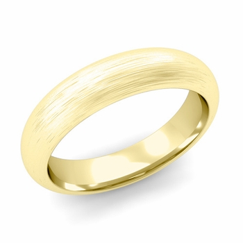 Dome Comfort Fit Wedding Band in 18k White or Yellow Gold, Brushed Finish, 5mm